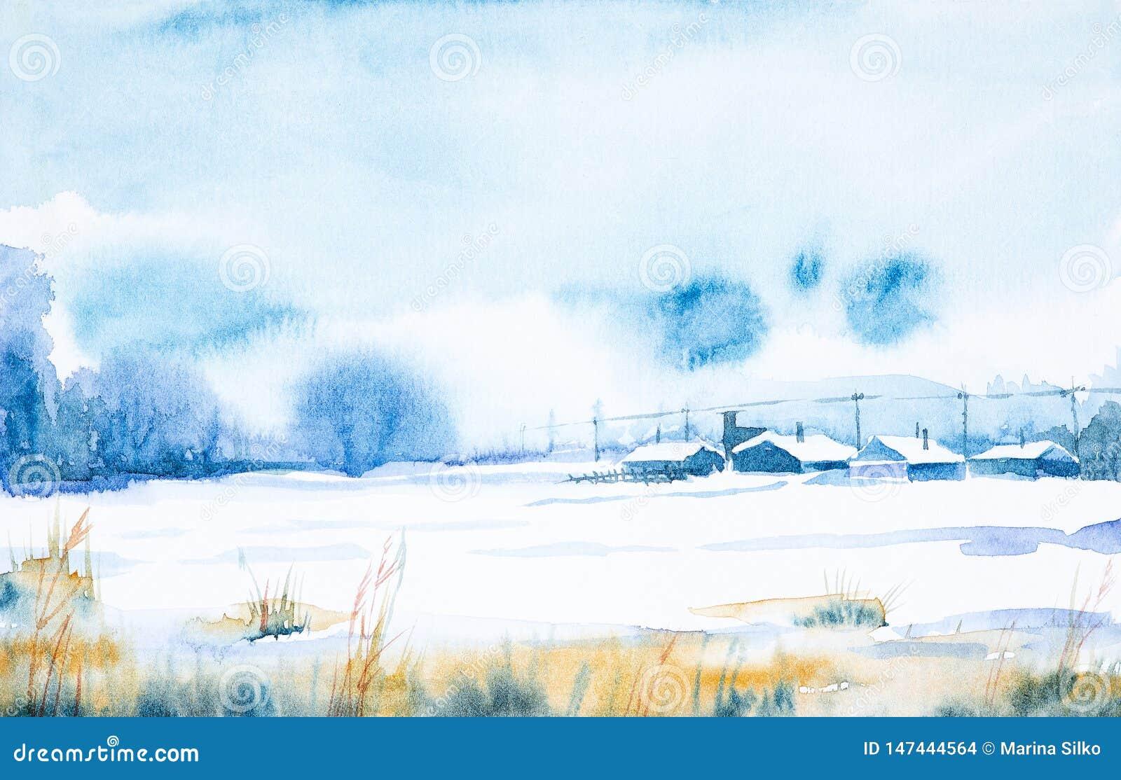 Herbstpark mit kleiner Br?cke Gefrorener Tag des Winters im russischen Dorf