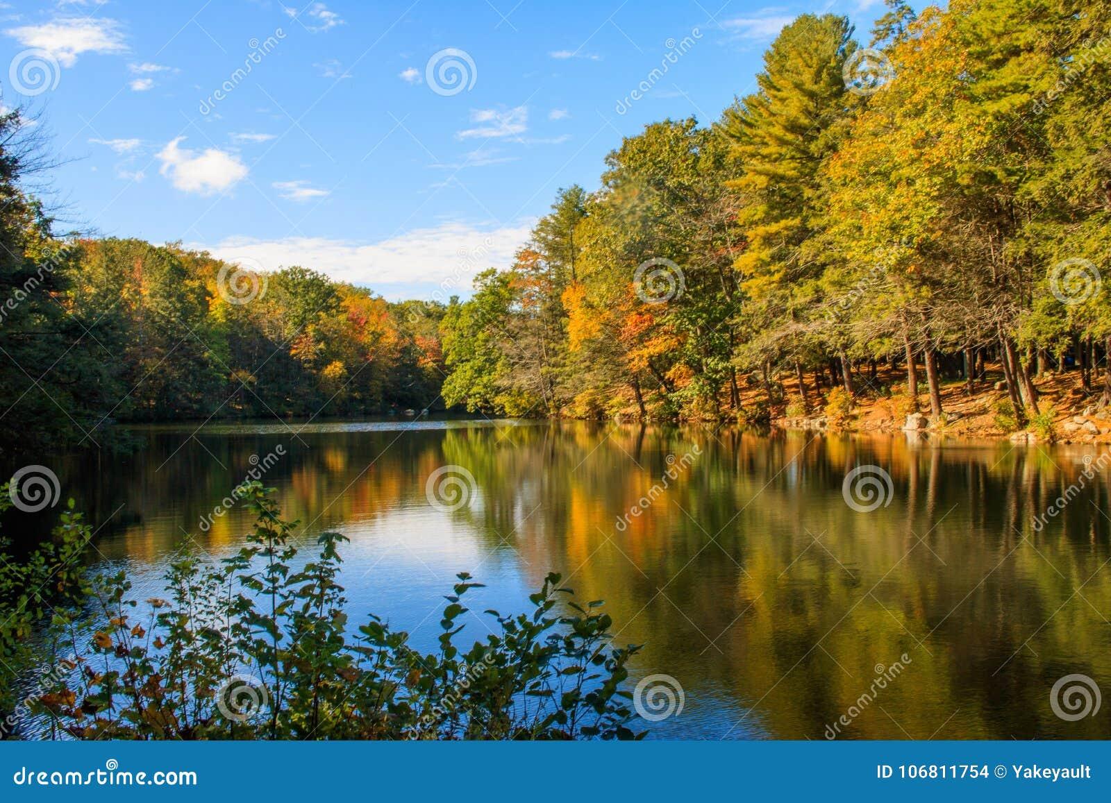 Herbstszene reflektiert in Burr Pond