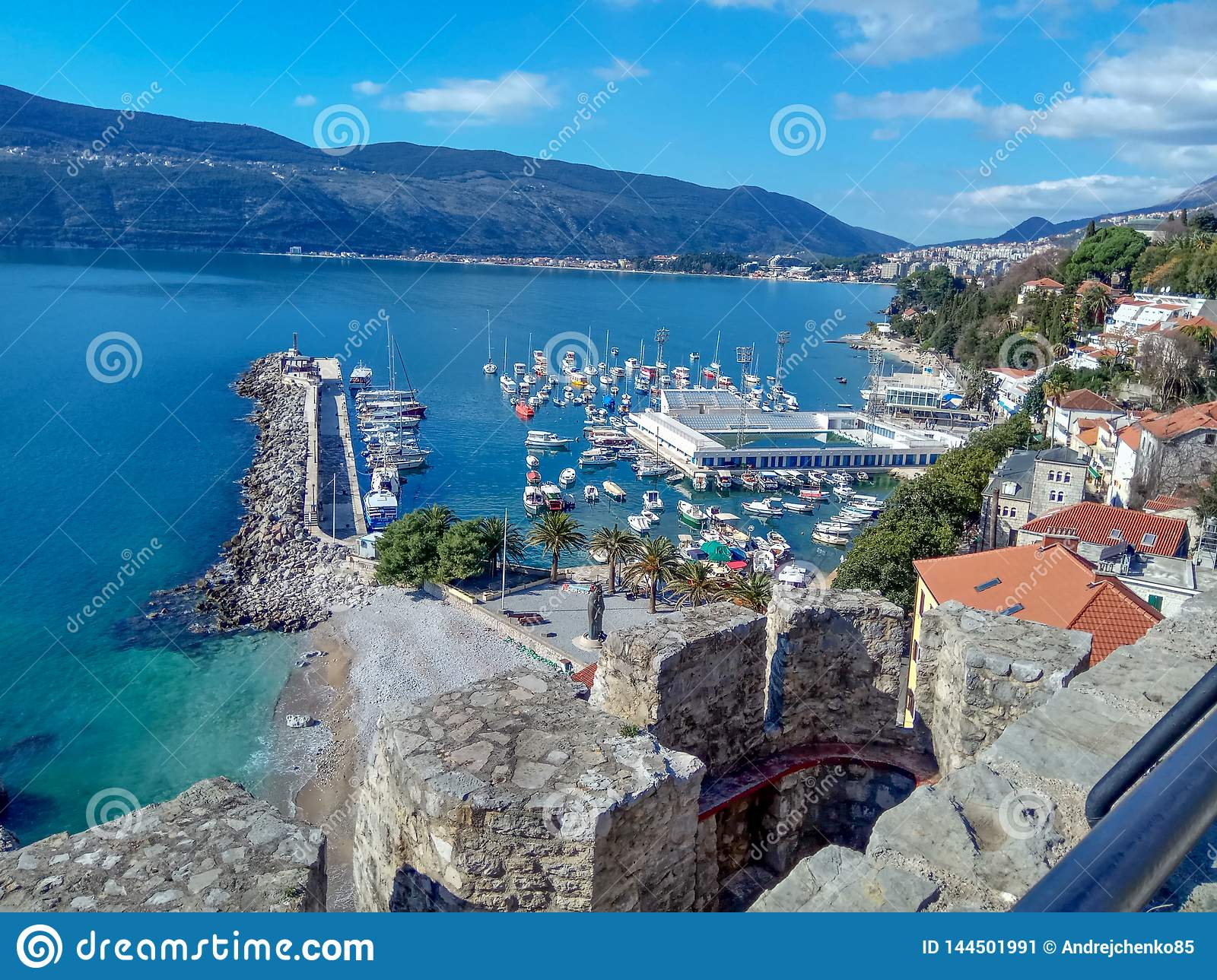 Herceg-Novi, Montenegro: city center near the water in the area with a yacht harbour and swimming pool