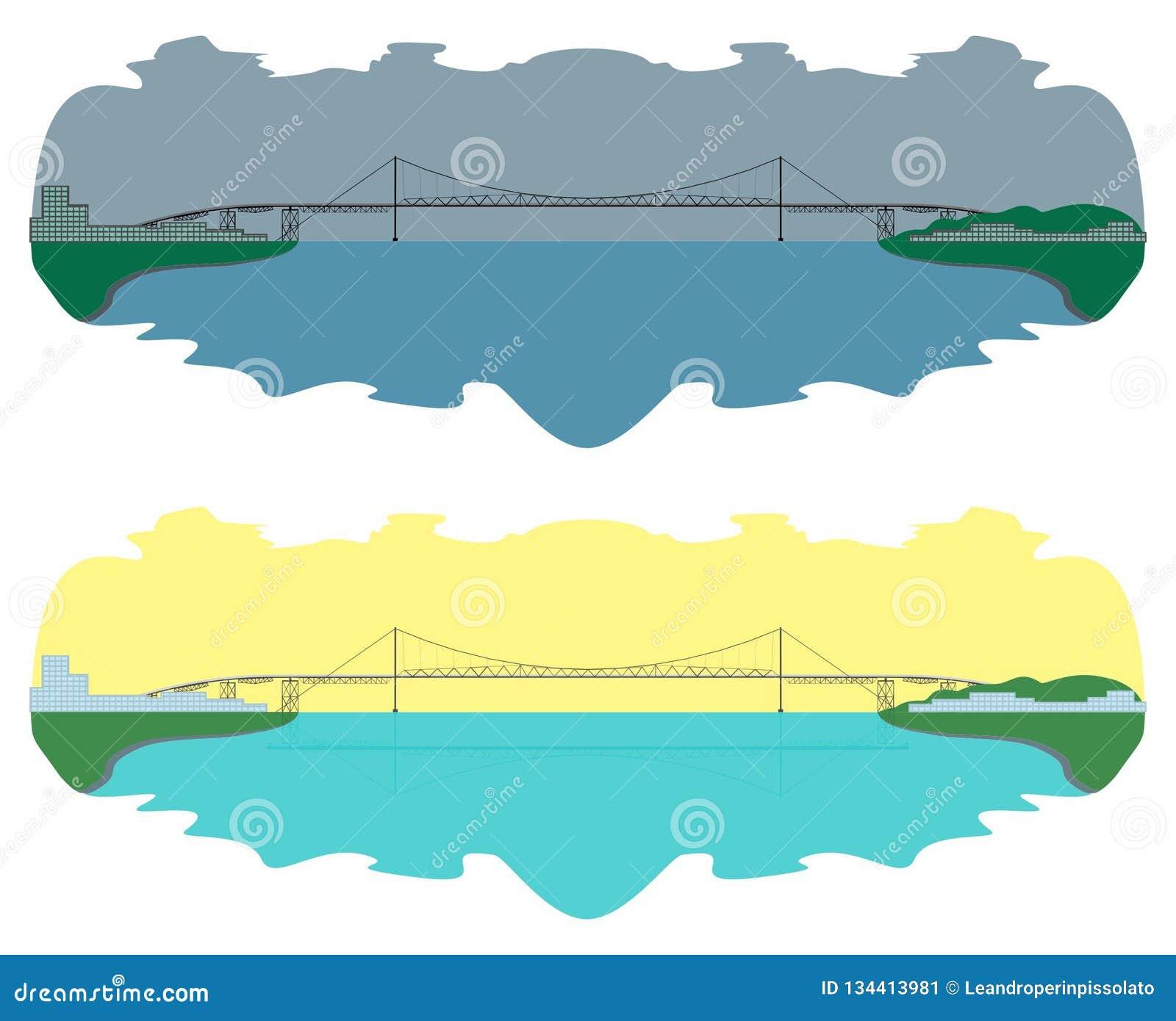 Hercilio Luz Bridge horisont den lätta dagen redigerar natt till vektorn