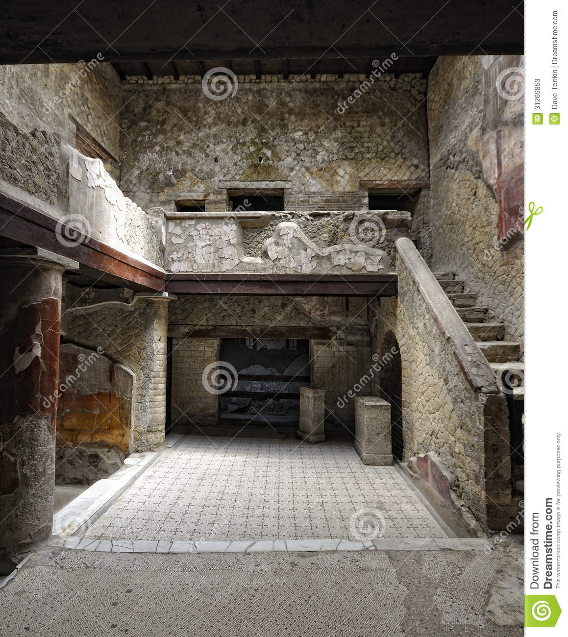 Herculaneum house interior stock photos image 31269853 for Ancient roman interior decoration