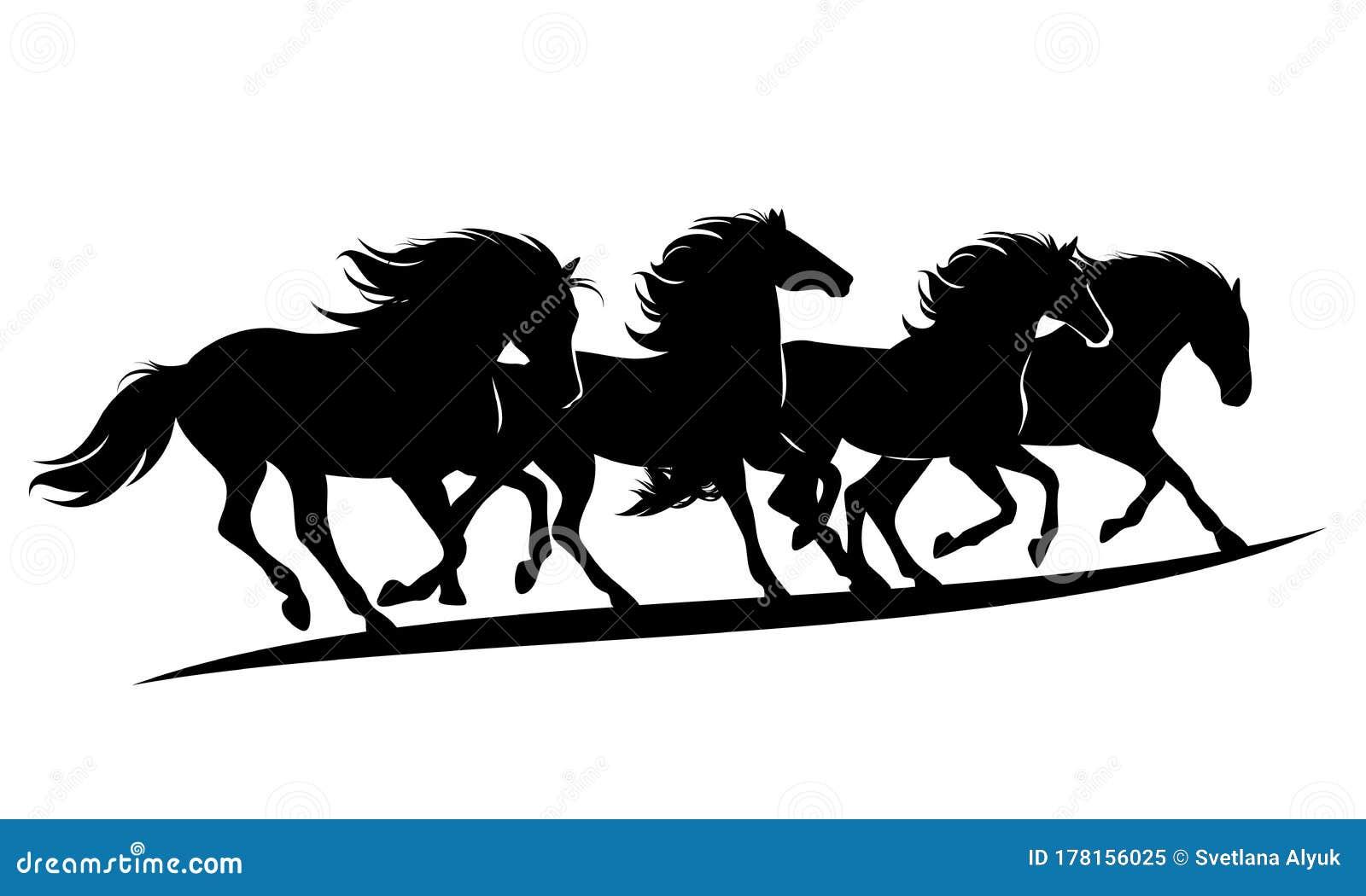 Running Mustang Horses Herd Black And White Vector Silhouette Stock Vector Illustration Of Mustang Animal 178156025