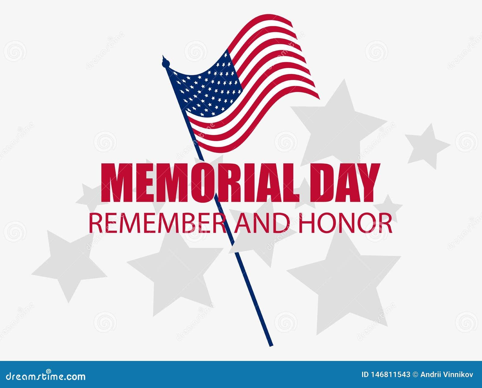 Herdenkings Dag Herinner me en eer Vlag van de Verenigde Staten Vector