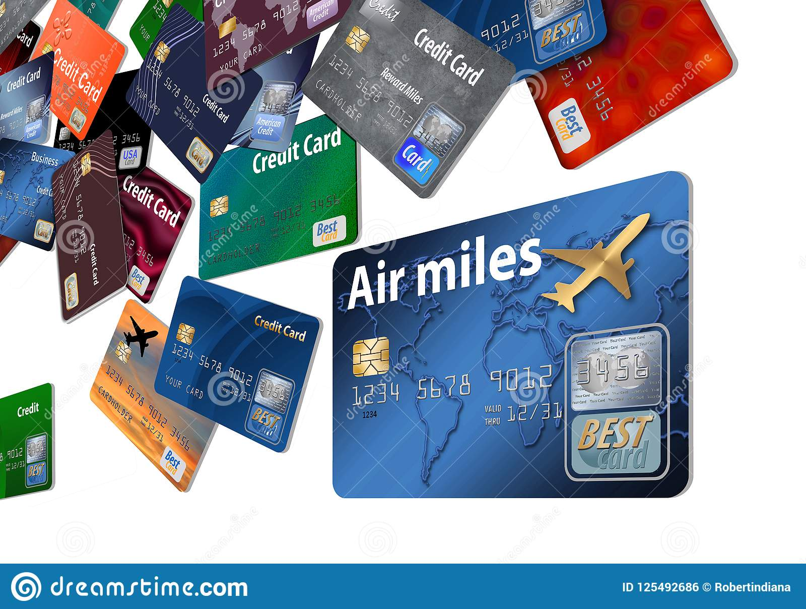 Here is an air rewards credit card with airline credit cards floating in the air.