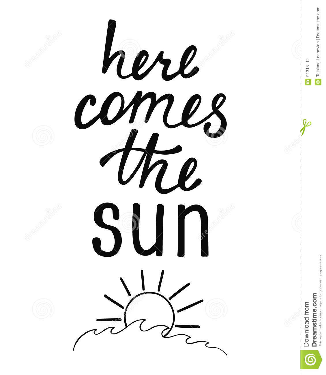 Here Comes The Sun. Inspirational Quote About Summer ...
