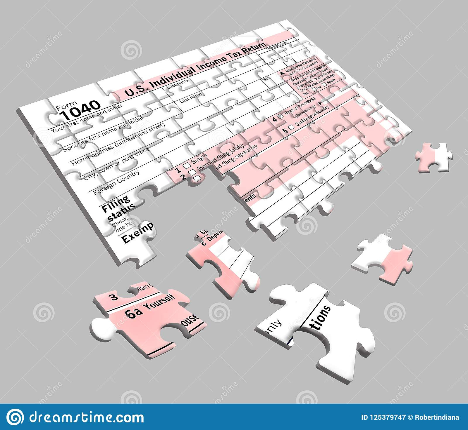 form 1040 jigsaw puzzle  Federal Income Tax Form 5 That Is A Jigsaw Puzzle Stock ...