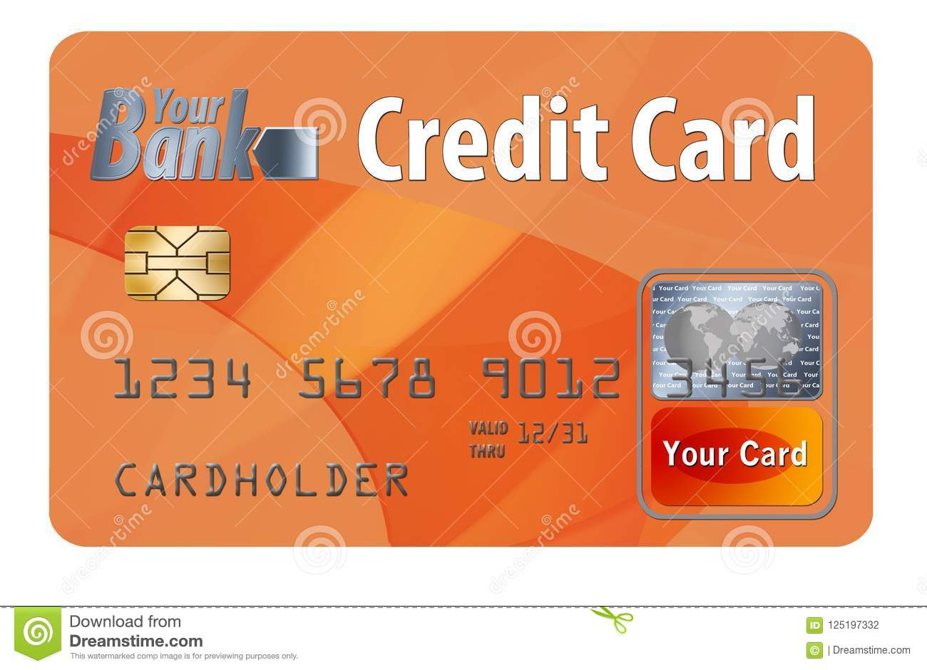 Generic credit or debit card isolated on white