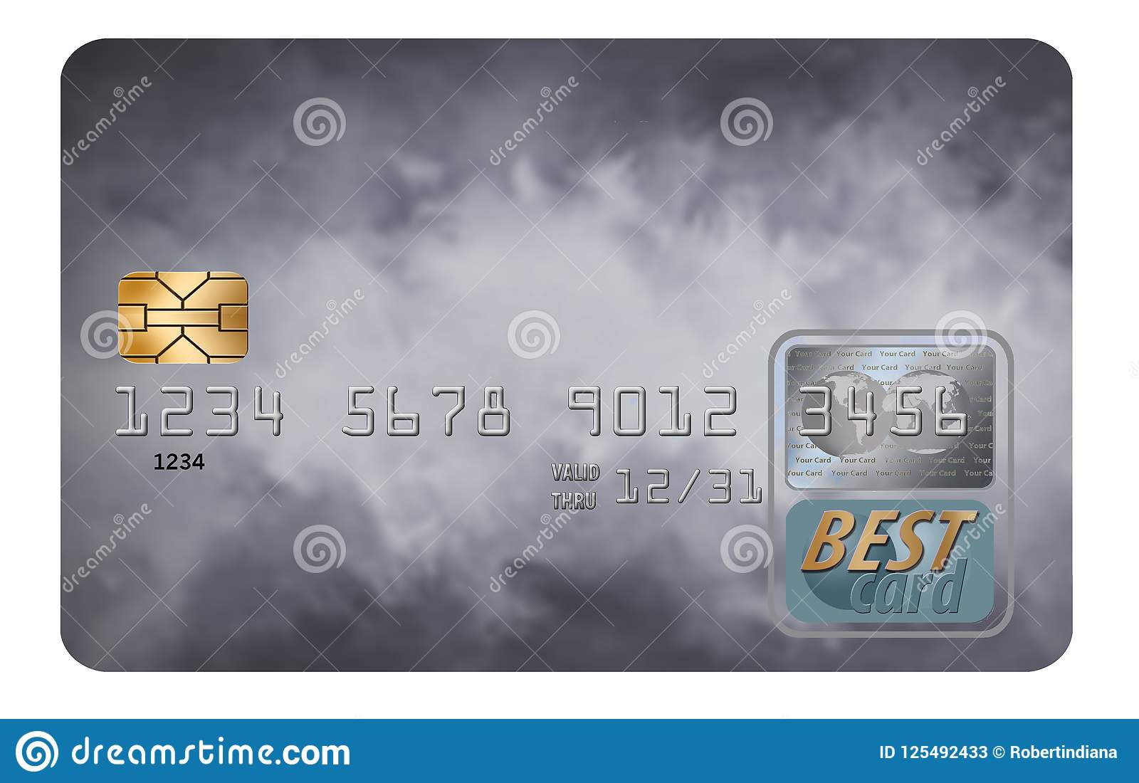 Here is a generic credit card isolated on a white background.