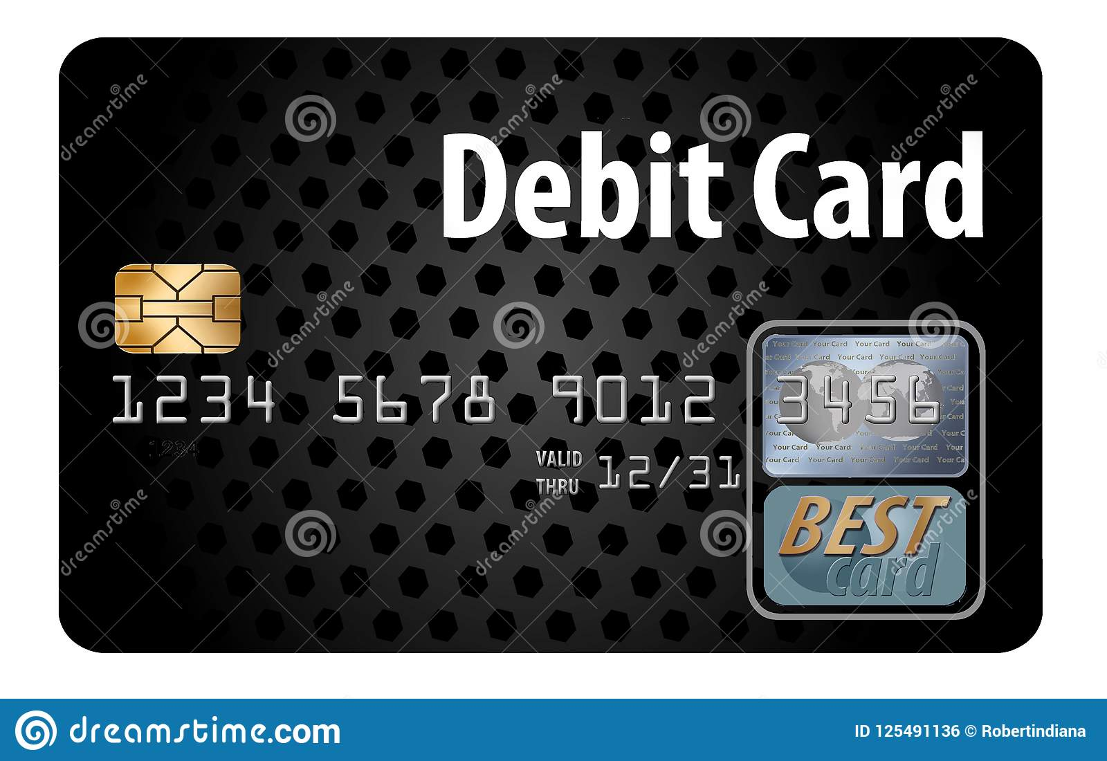 Here is a generic debit card isolated on a white background.