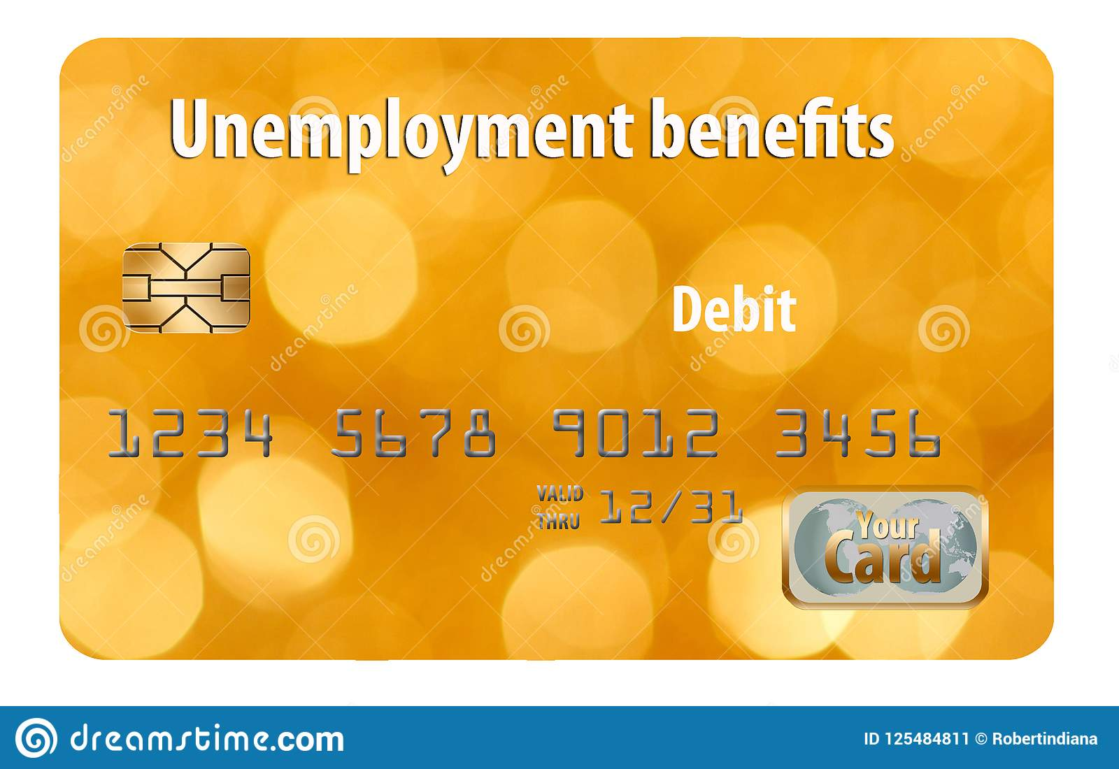 Here is a Generic Unemployment Benefits Debit Card. Stock Image
