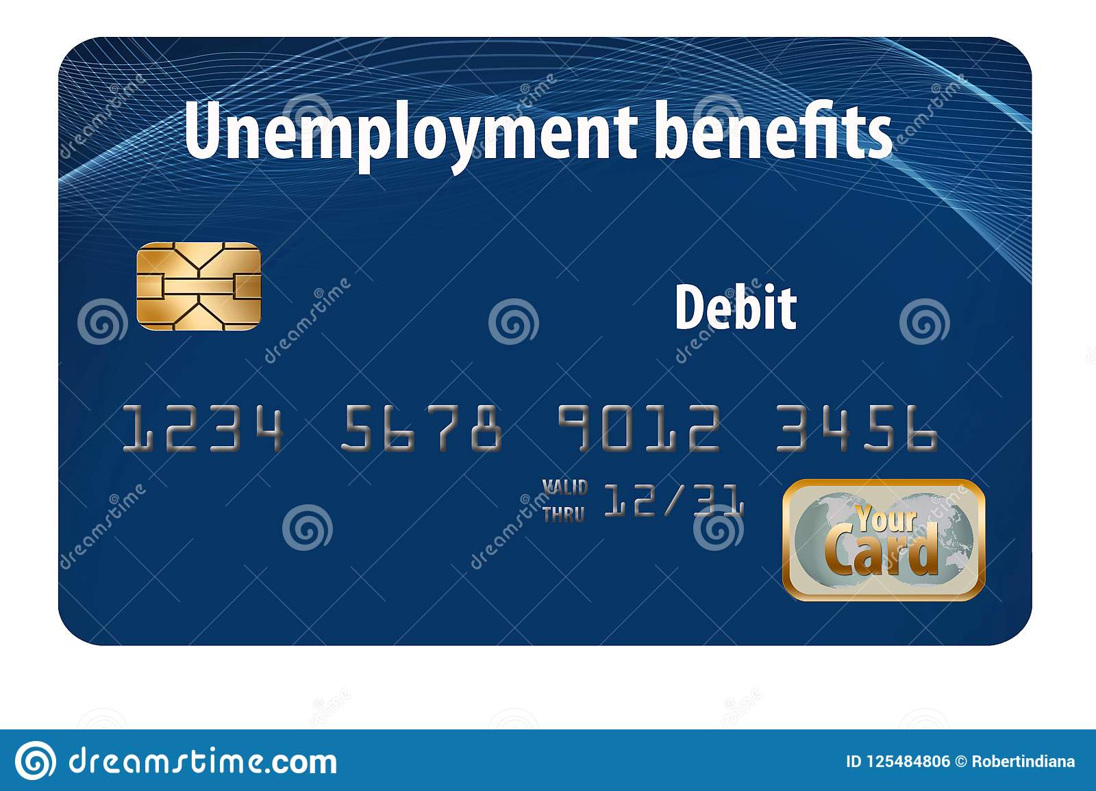 Here is a generic unemployment benefits debit card.