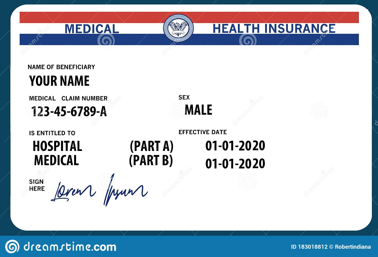 Here Is A Mock, Generic, 2020 Medicare Health Insurance ...