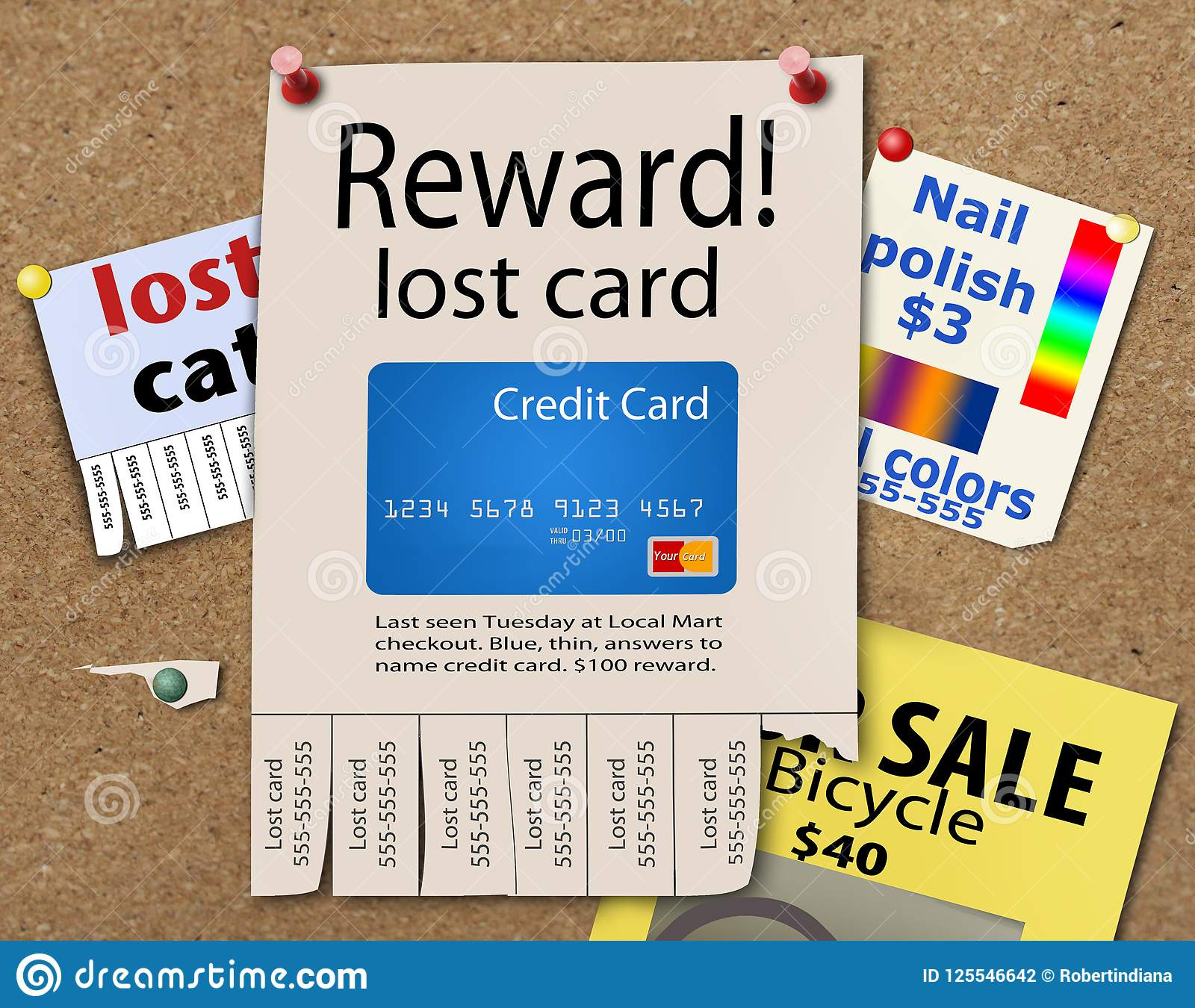 here is a posted reward poster for a lost credit card stock photo