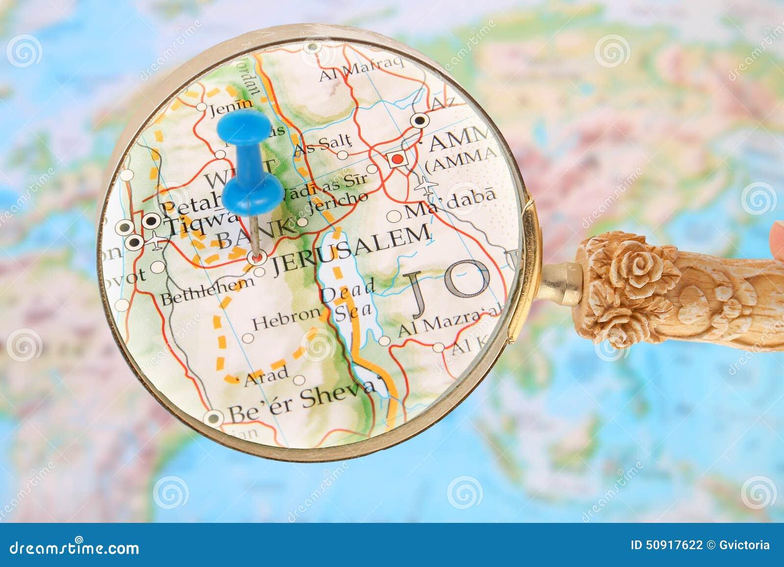 Jerusalem Karte Welt.Herein Auf Jerusalem Israel Asien Schauen Stockfoto Bild