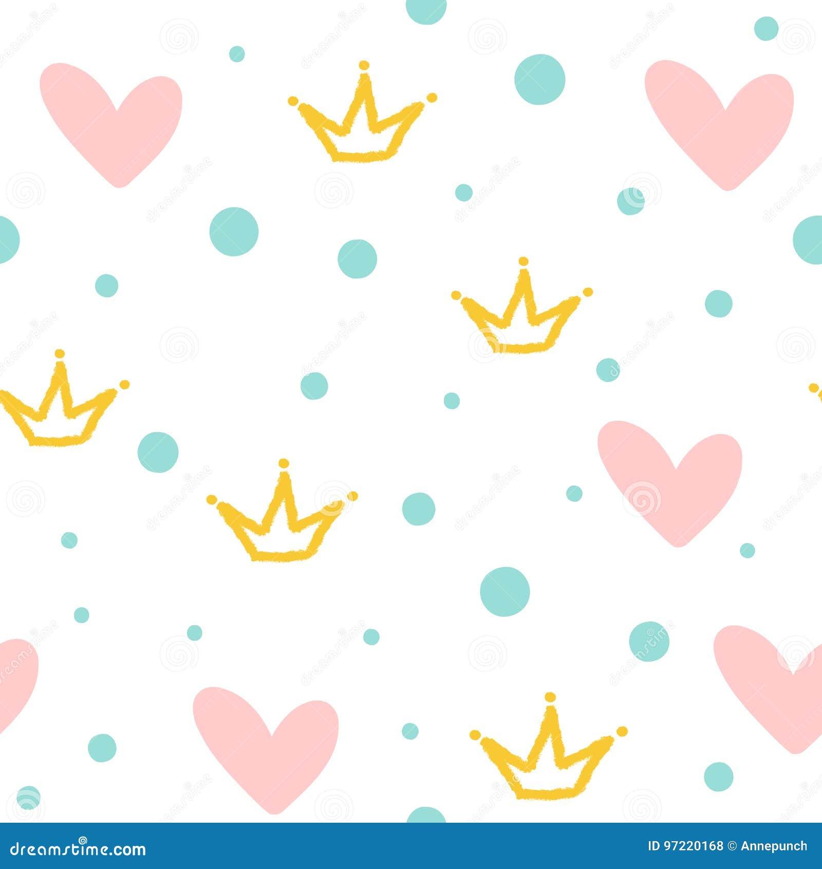 Herhaalde kronen, harten en ronde punten Leuk naadloos patroon Getrokken door hand