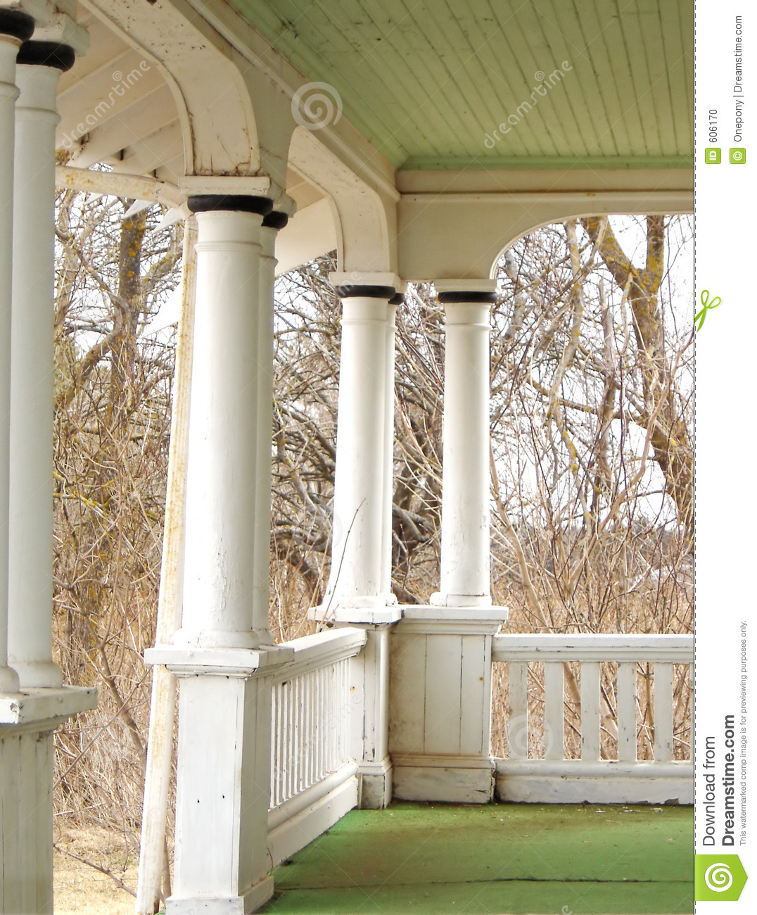 Front Porch Of Yellow House Stock Photo: Heritage Home Front Porch Stock Photo