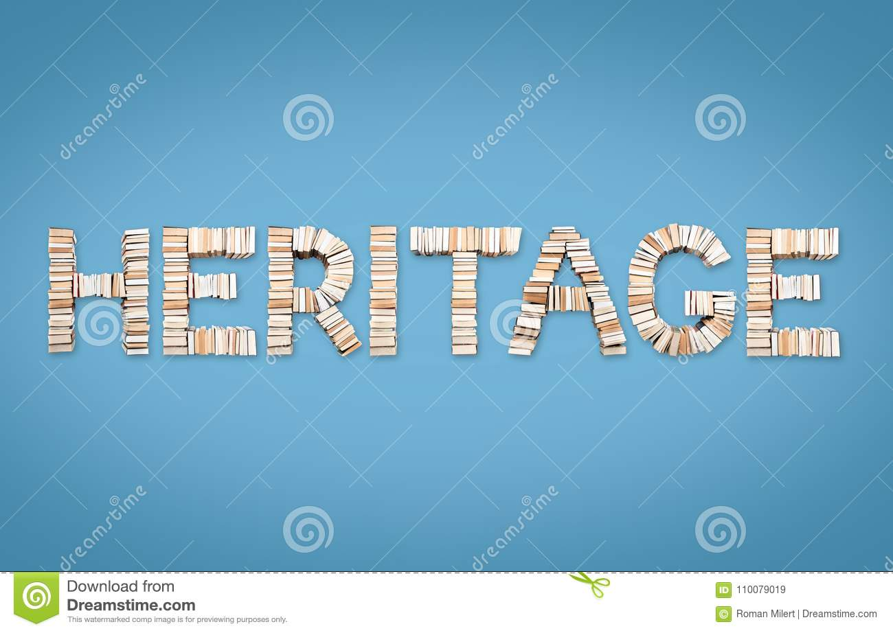 heritage word arranged from books stock illustration