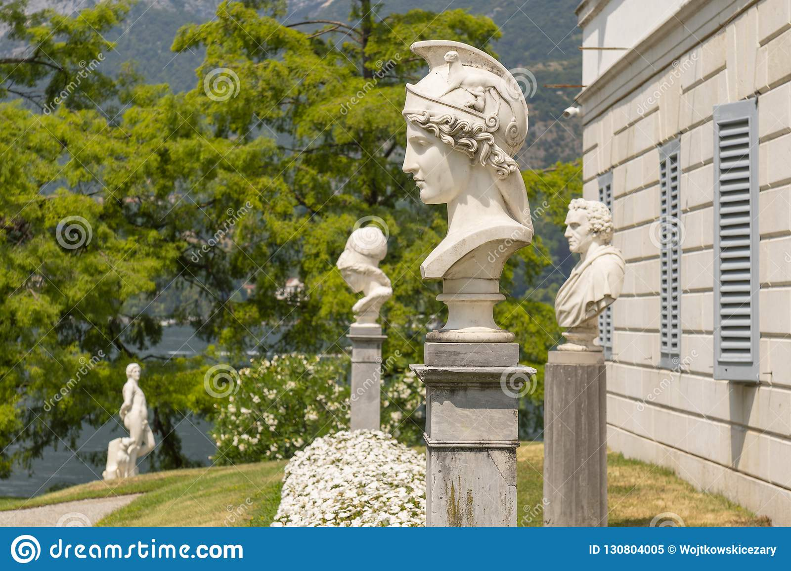 Herm of Athena in italian garden of Villa Melzi in Bellagio, Italy.