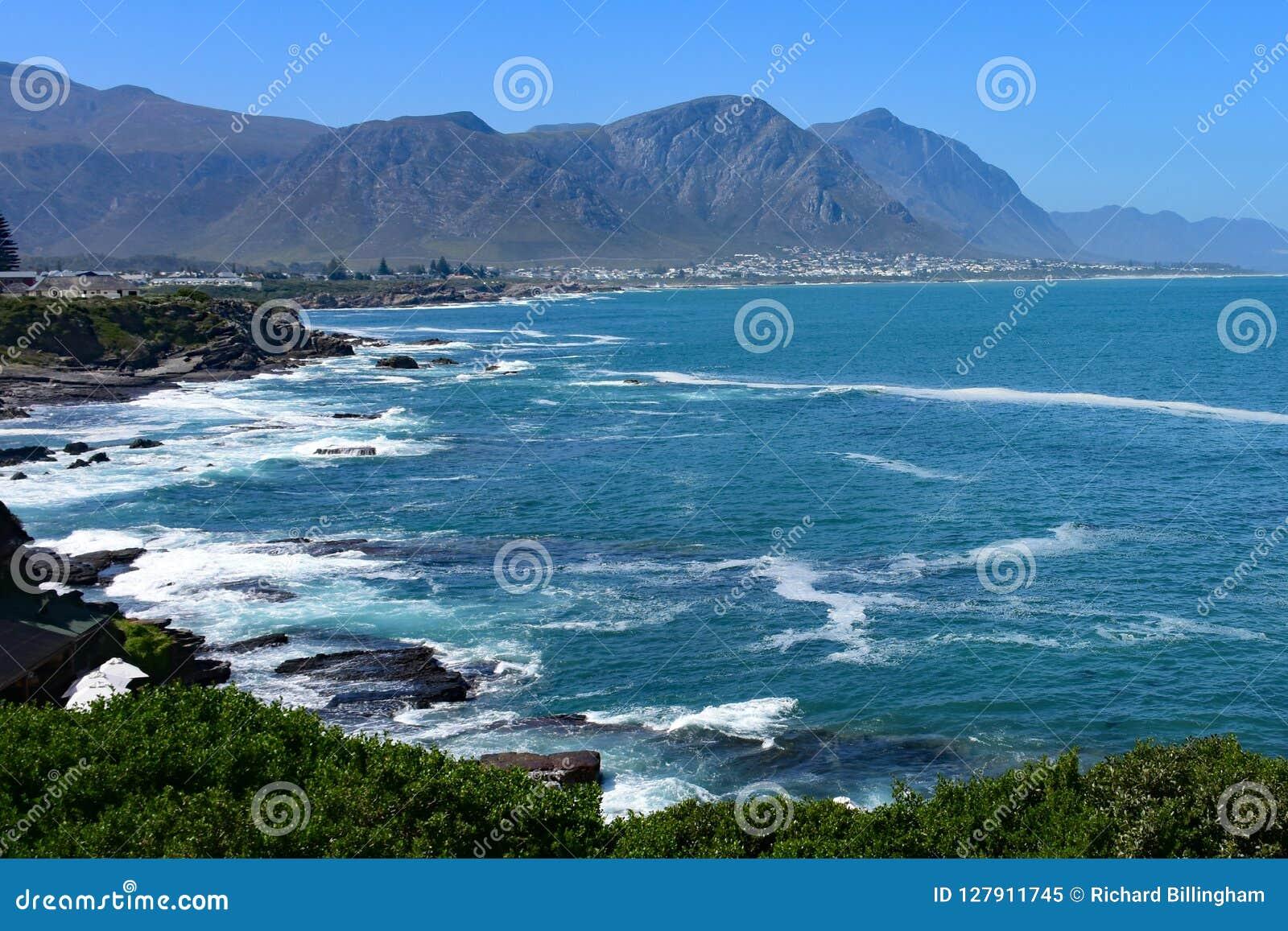 Hermanus, wielorybi dopatrywania miasteczko, Zachodni przylądek, Południowa Afryka