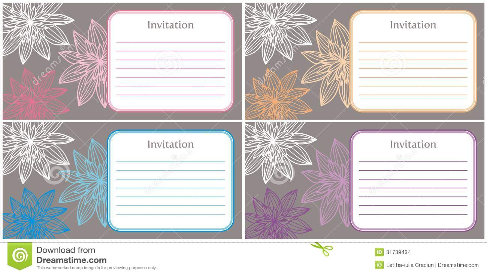 4 Hermosos E Invitaciones Elegantes Ilustración Del Vector