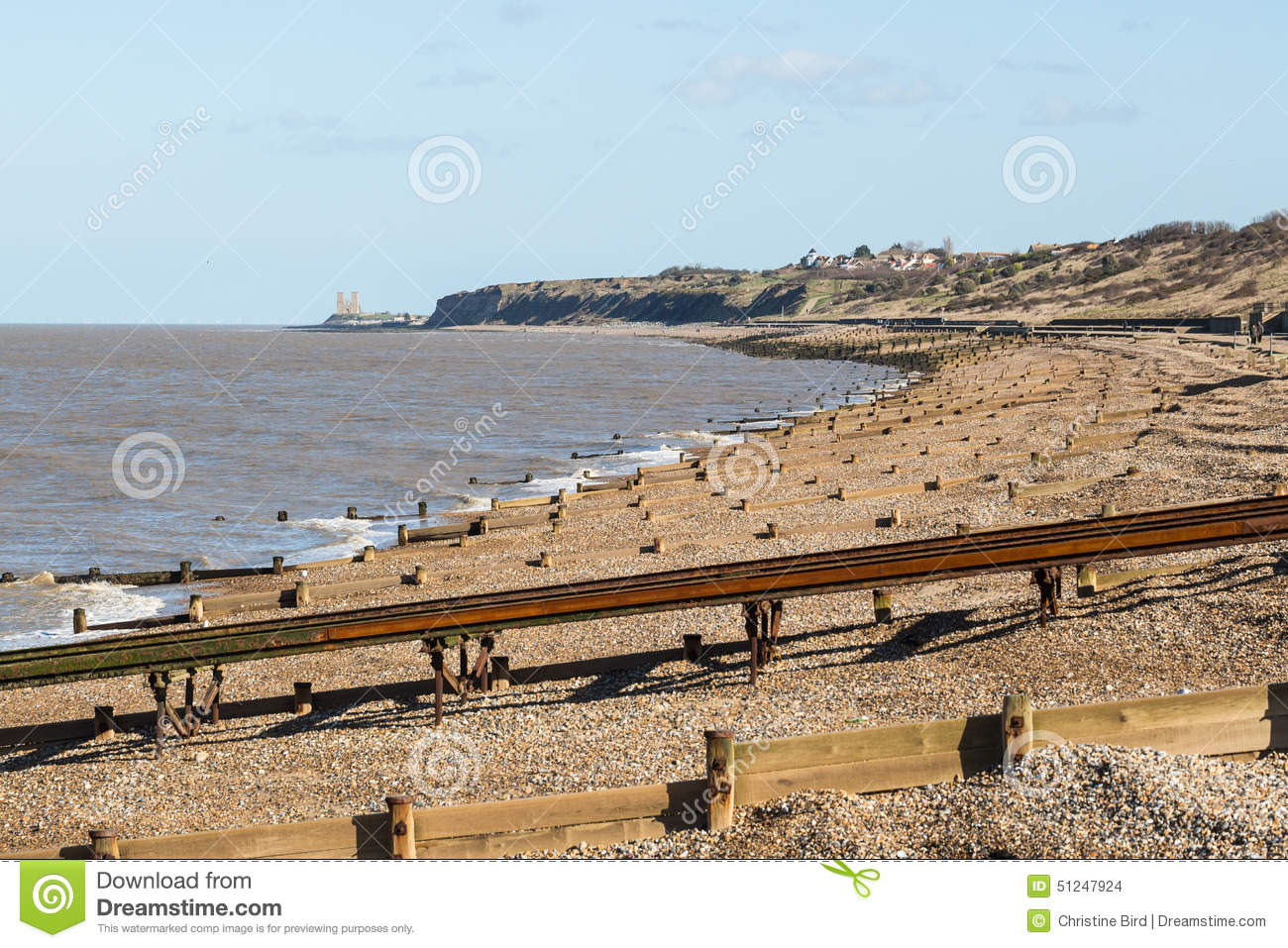herne bay beach and reculver towers stock photo image of. Black Bedroom Furniture Sets. Home Design Ideas