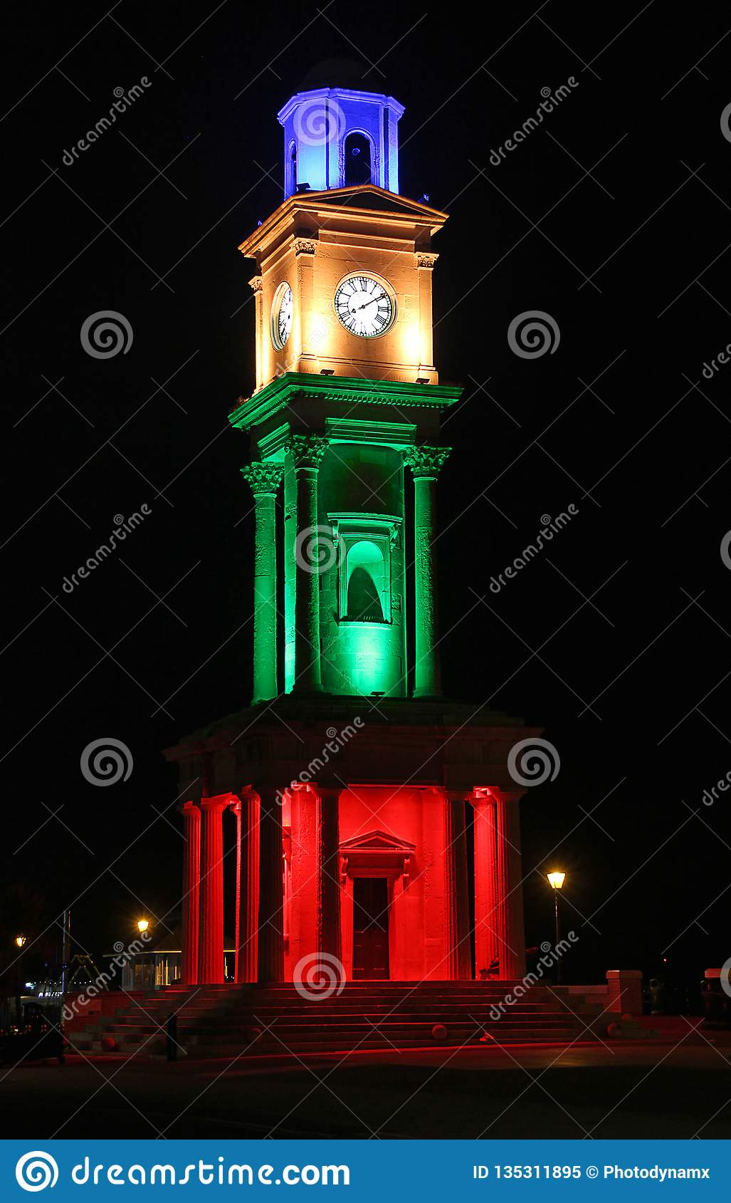 Herne bay victorian clock tower illuminated