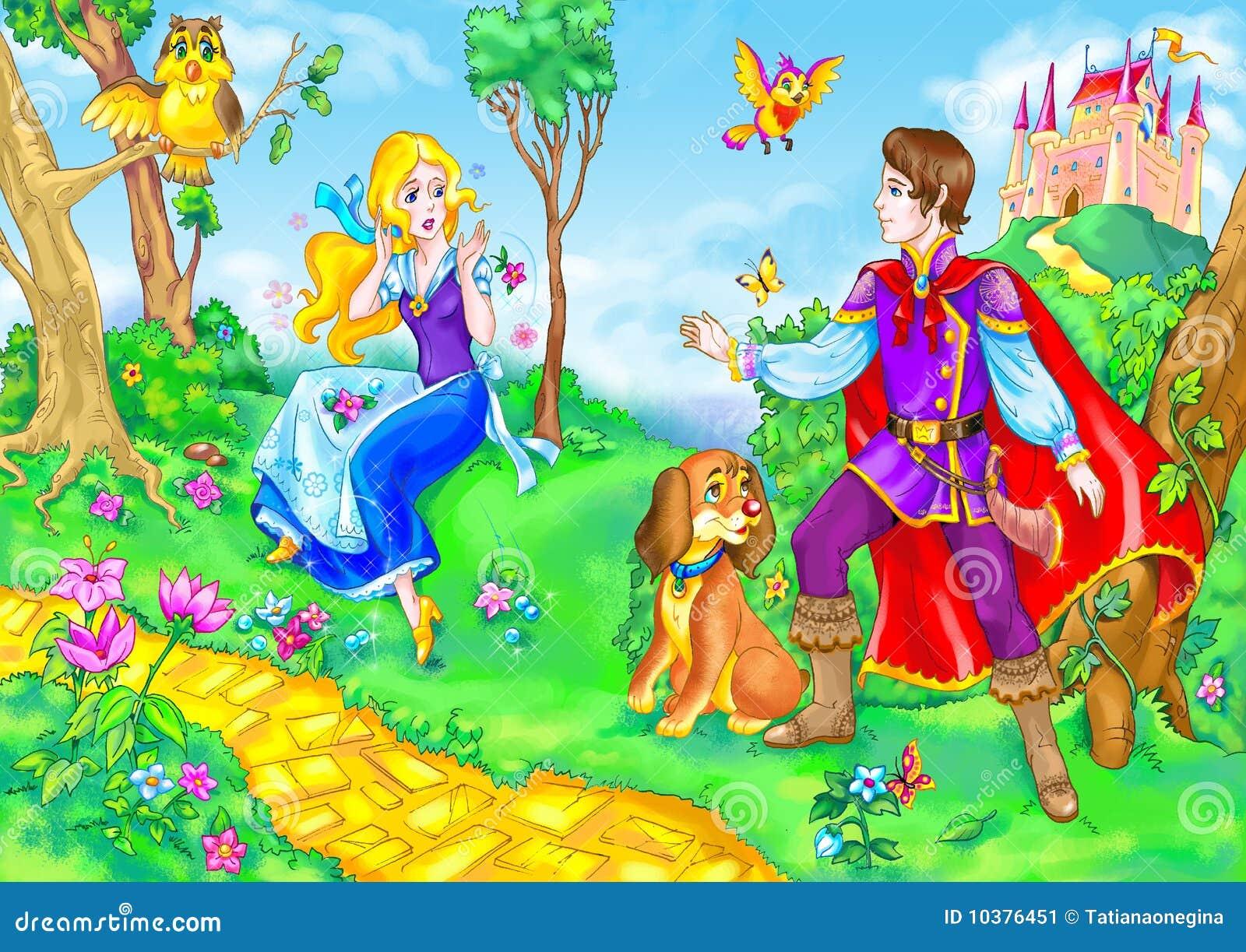 Heroína y príncipe del cuento de hadas