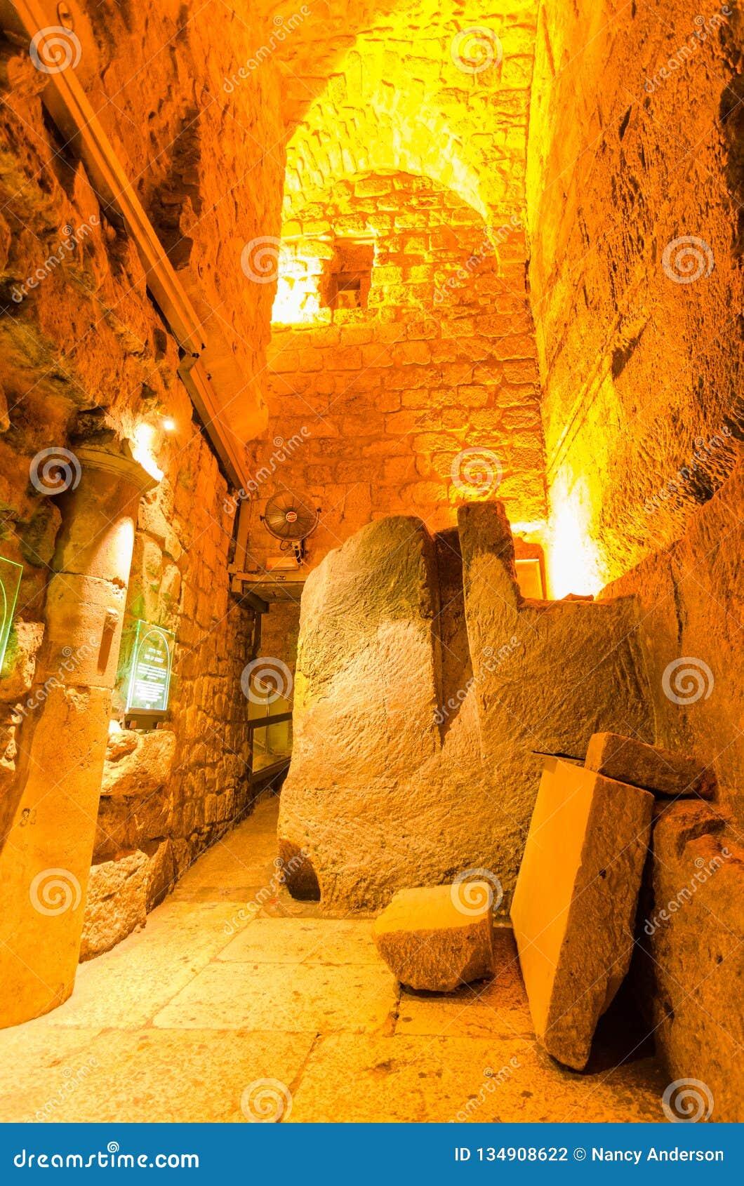 Herodian street underground in the Western Wall tunnels in Jerusalem, Israel