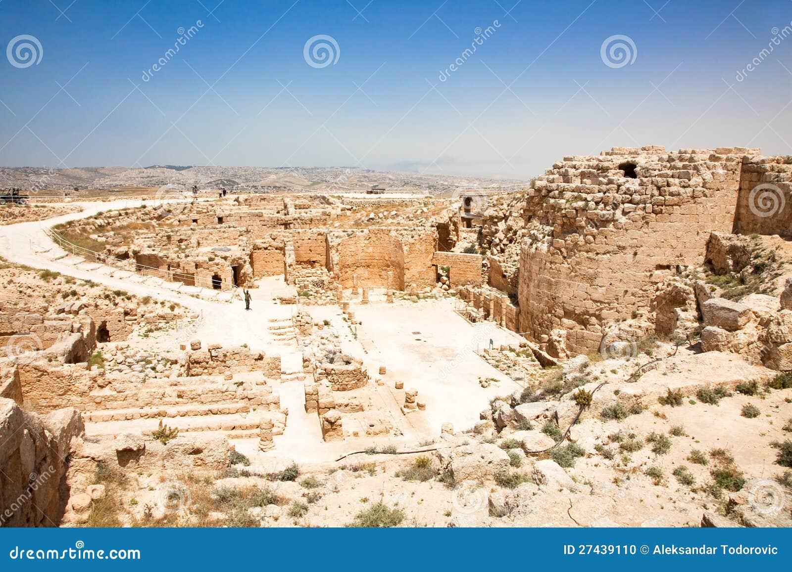 Herodion寺庙城堡在Judea沙漠,以色列