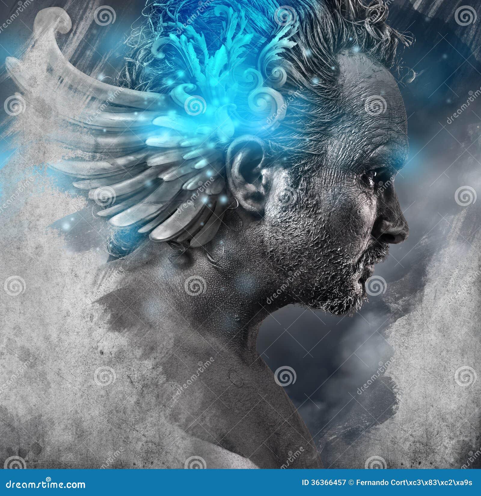 Heroe mythology man with black shapes studio portrait stock image image of concepts - Free evil angel pictures ...