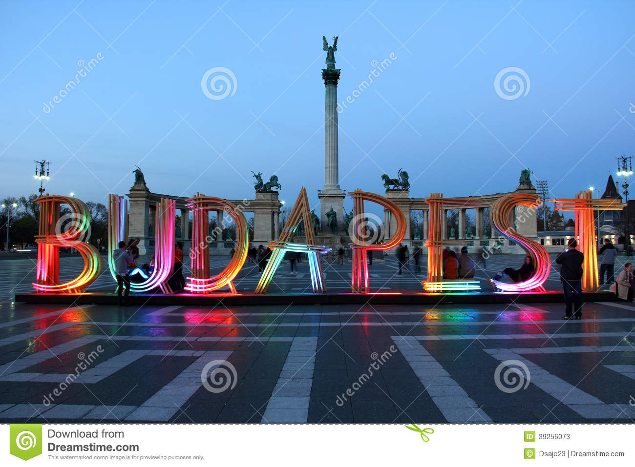 Heroes' Square In Budapest With Wooden Sign Editorial Stock Photo ...