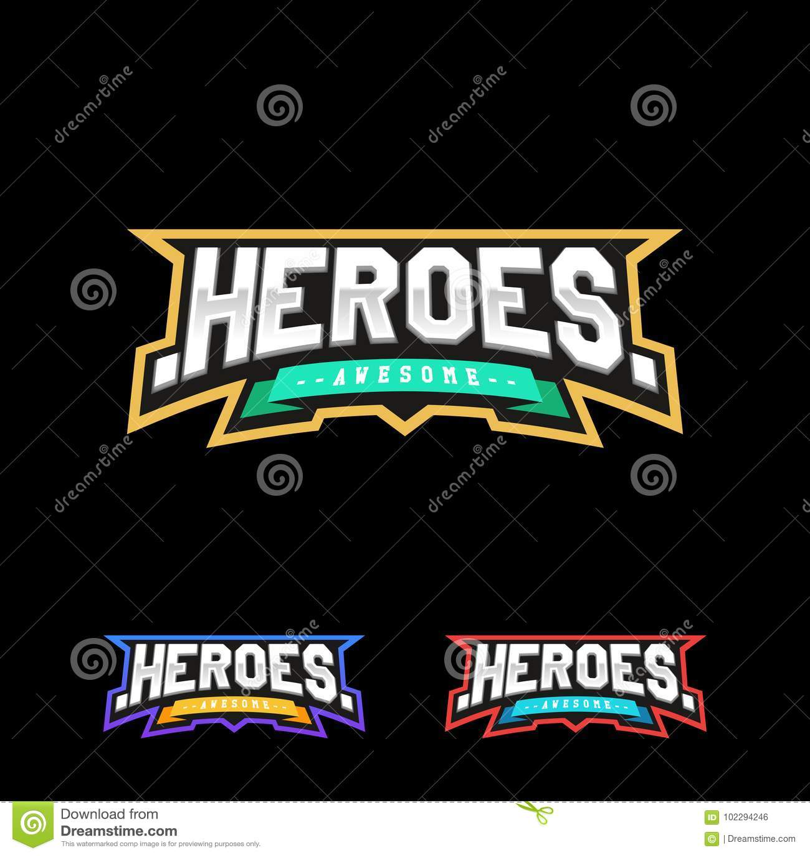 Heroes or Superhero sport text logo.