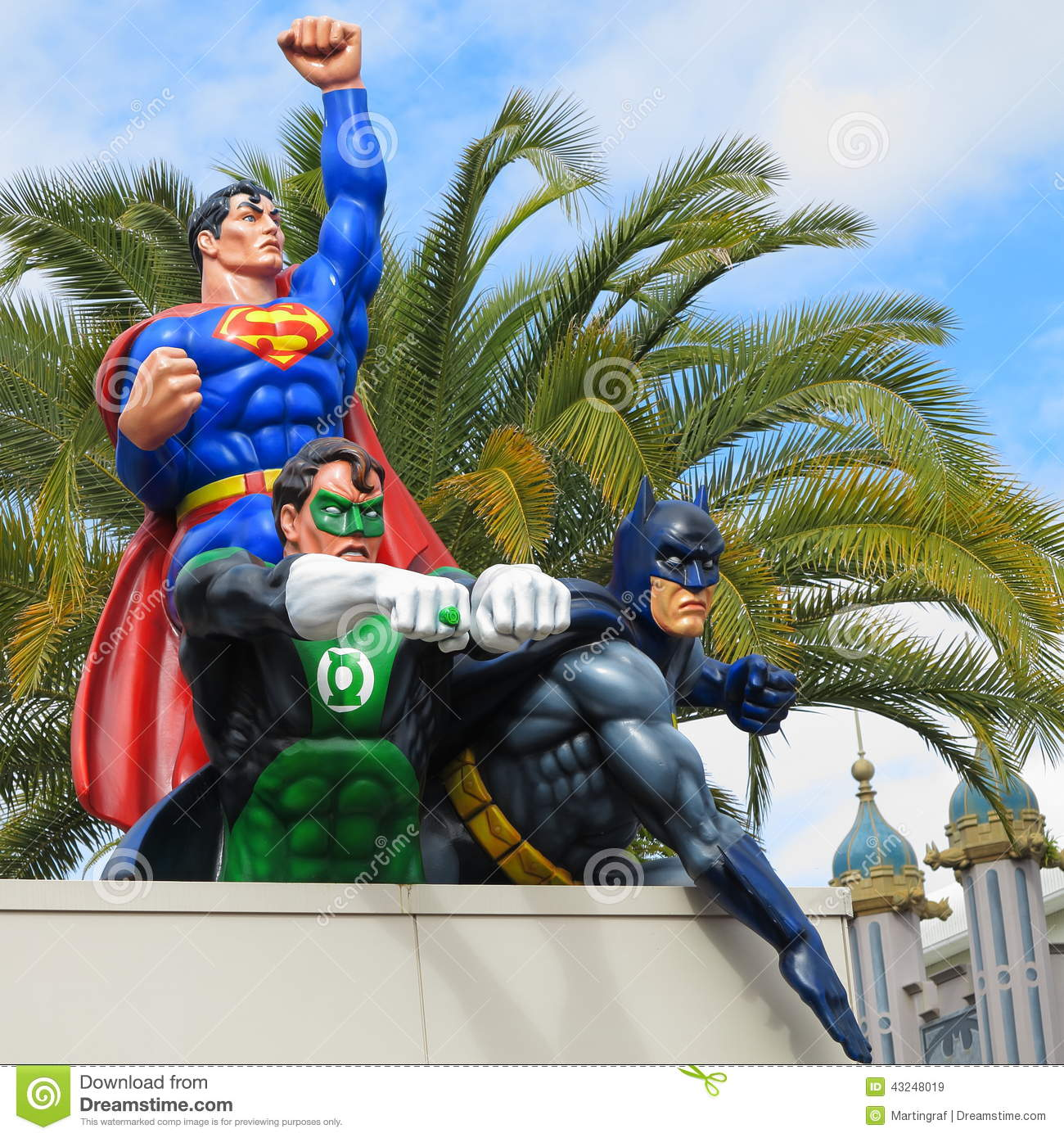 hero team superman, green lantern, batman on roof editorial stock