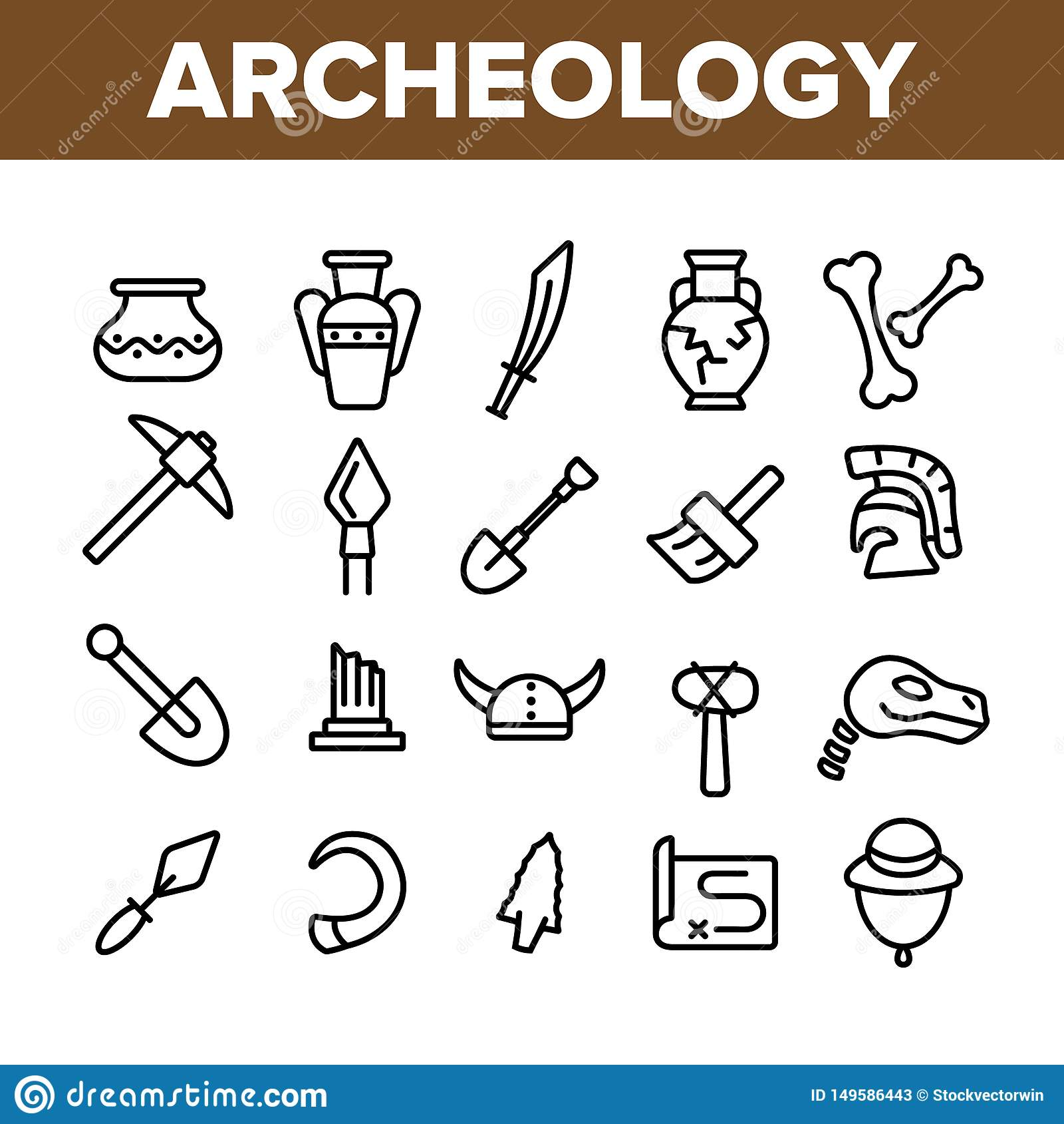 Herramientas arqueológicas y sistema linear de los iconos del vector de las excavaciones