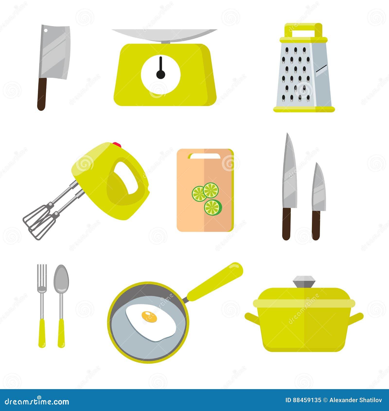herramientas coloridas de la cocina del vintage sistema de