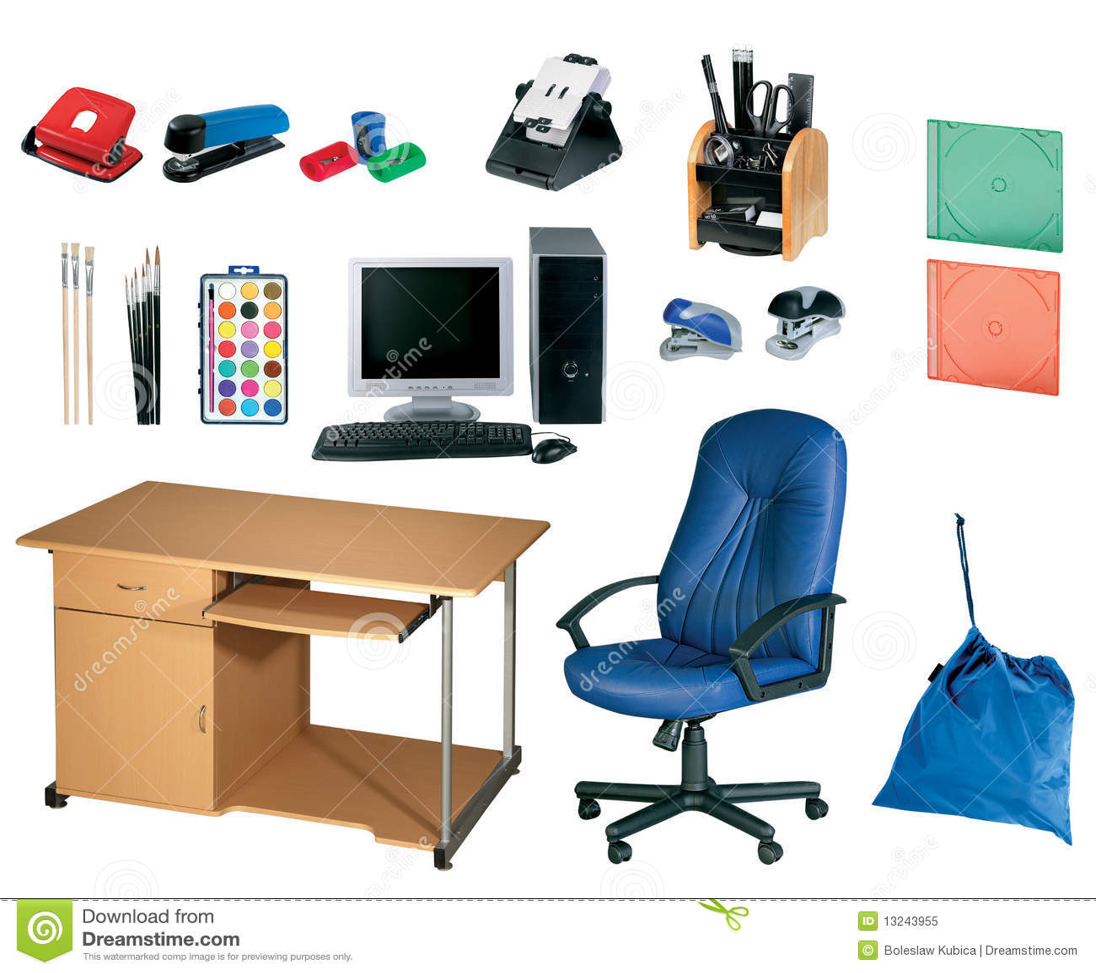 herramientas de la oficina conjunto del papel foto de
