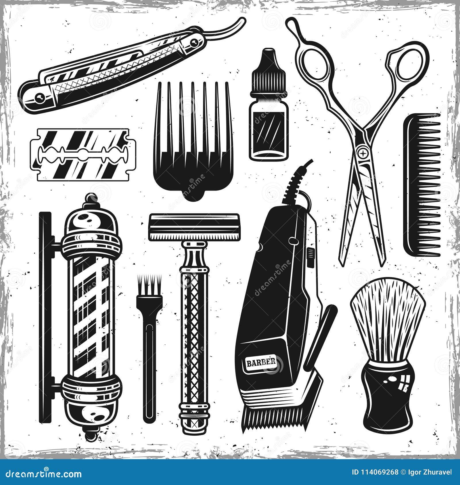 Herramientas de los peluqueros y elementos del vintage de la barbería