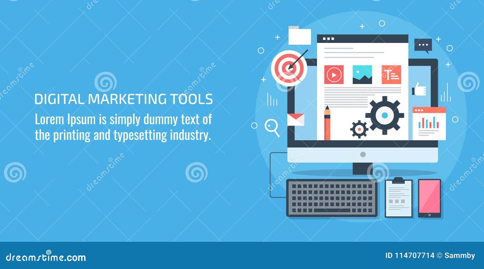 Herramientas de márketing de Digitaces, lugar de trabajo, dispositivo digital, contenido, concepto de software, bandera plana del