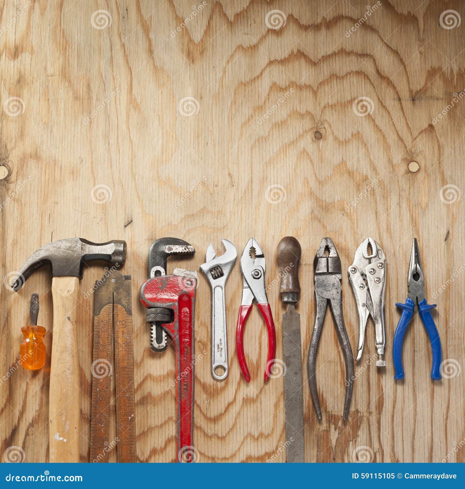 Herramientas de madera del fondo foto de archivo imagen - Herramientas de madera ...