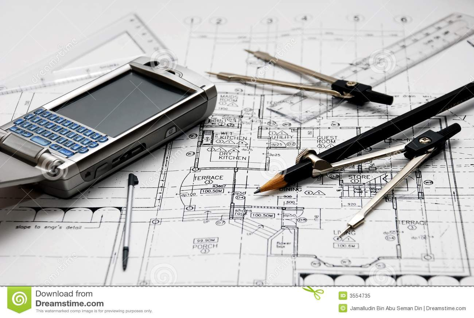 Herramientas del arquitecto foto de archivo libre de for Trabajo de arquitecto