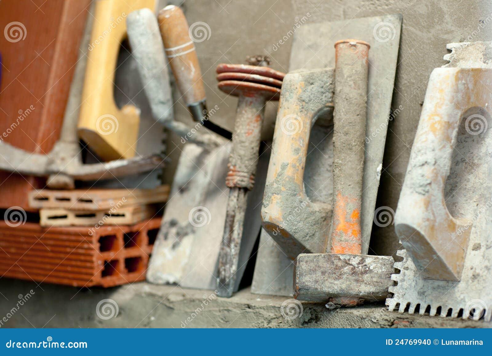 Herramientas del mortero del cemento del alba il de la - Herramientas de albanil ...