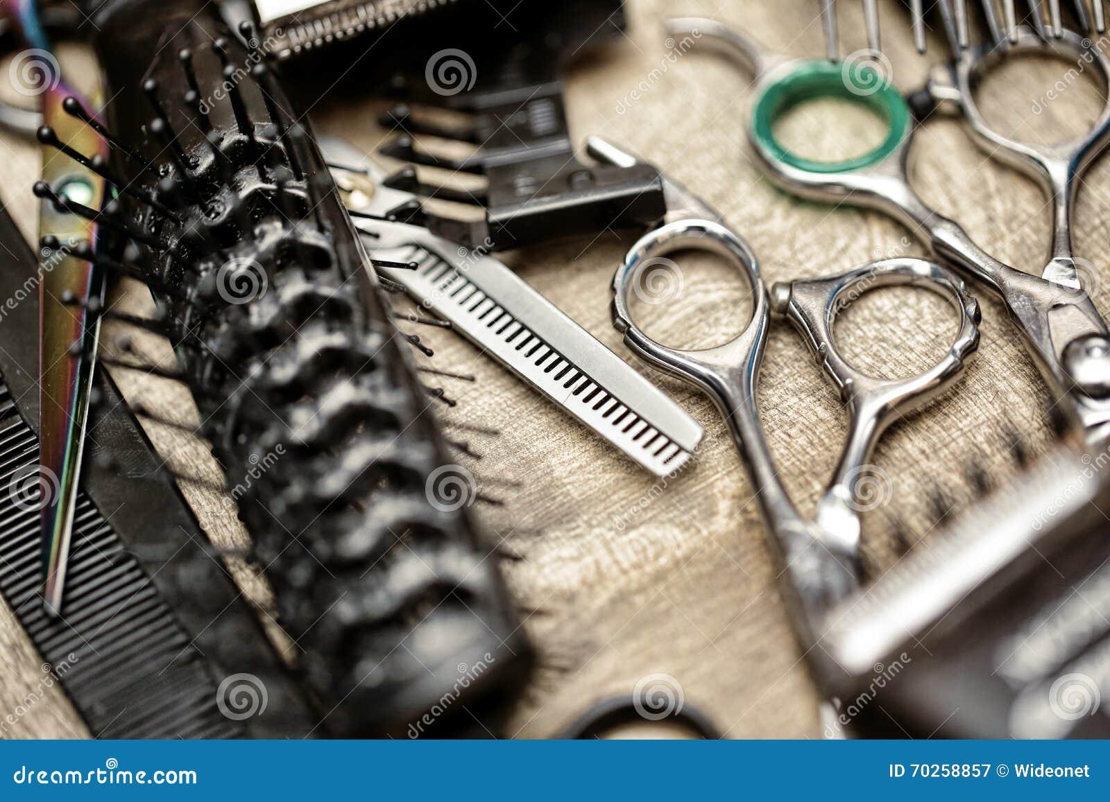 Herramientas del peluquero en estilo del vintage
