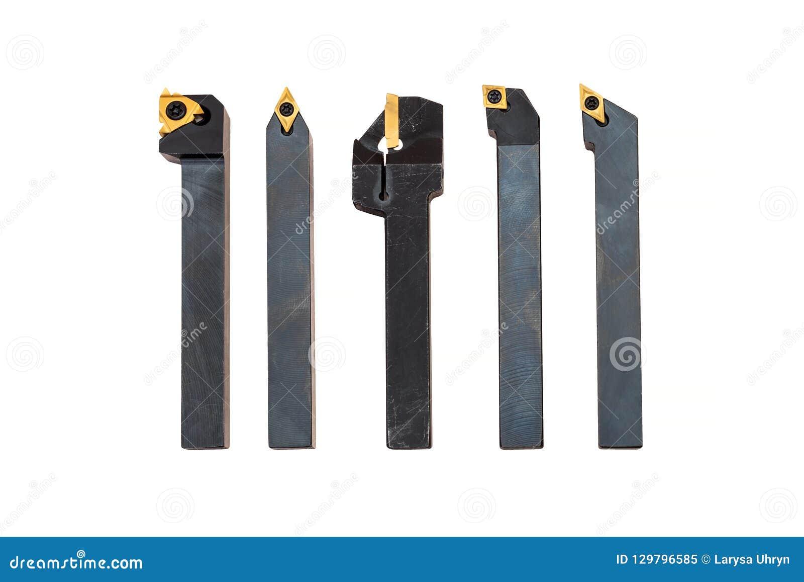 Herramientas indexables del torno con las extremidades reemplazables, sistema en el fondo blanco