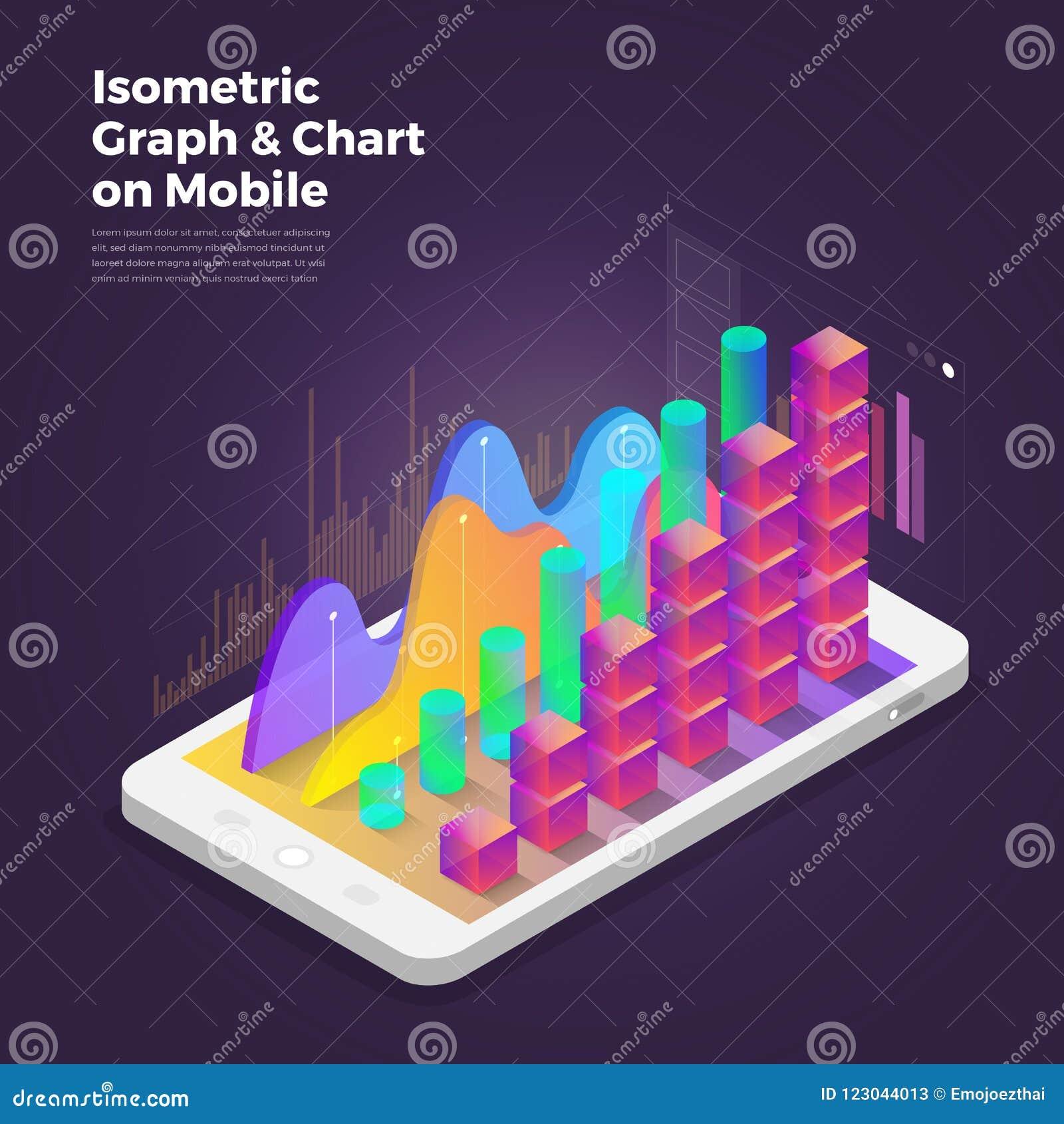 Herramientas isométricas del analytics de la aplicación móvil del concepto de diseño Vec