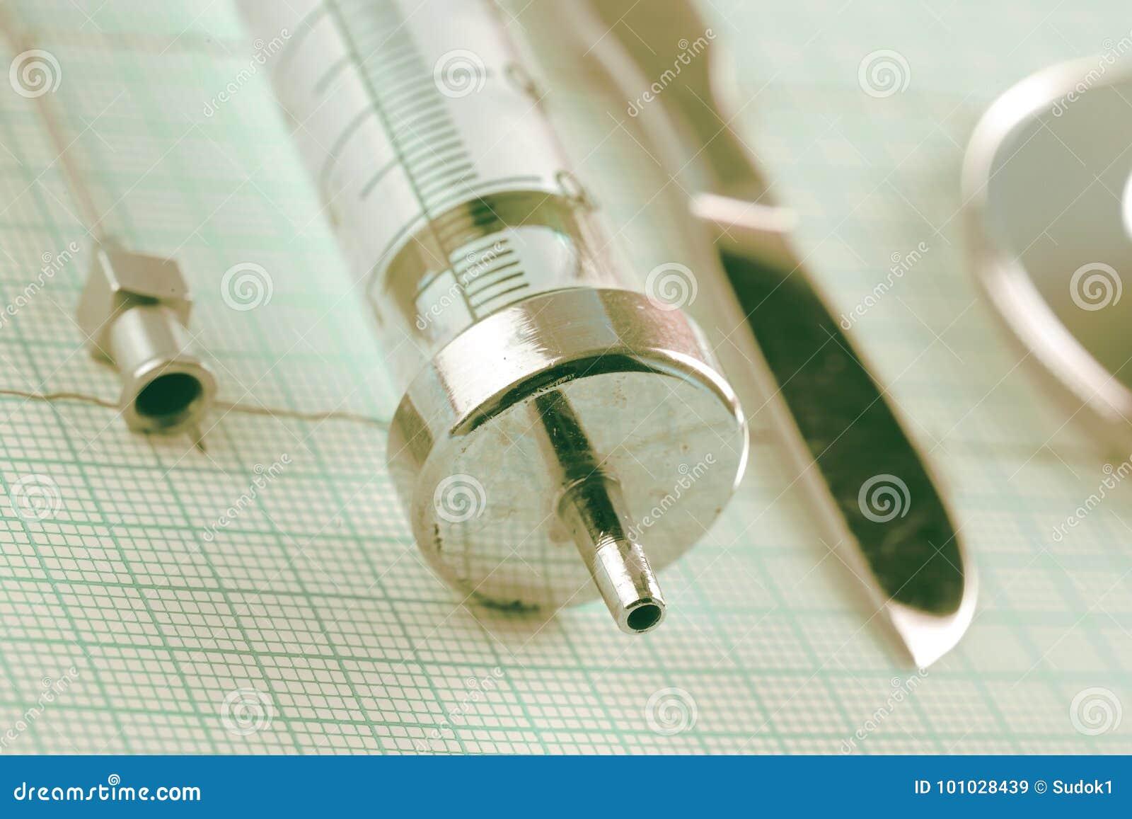 Herramientas médicas retras en la carta de ECG