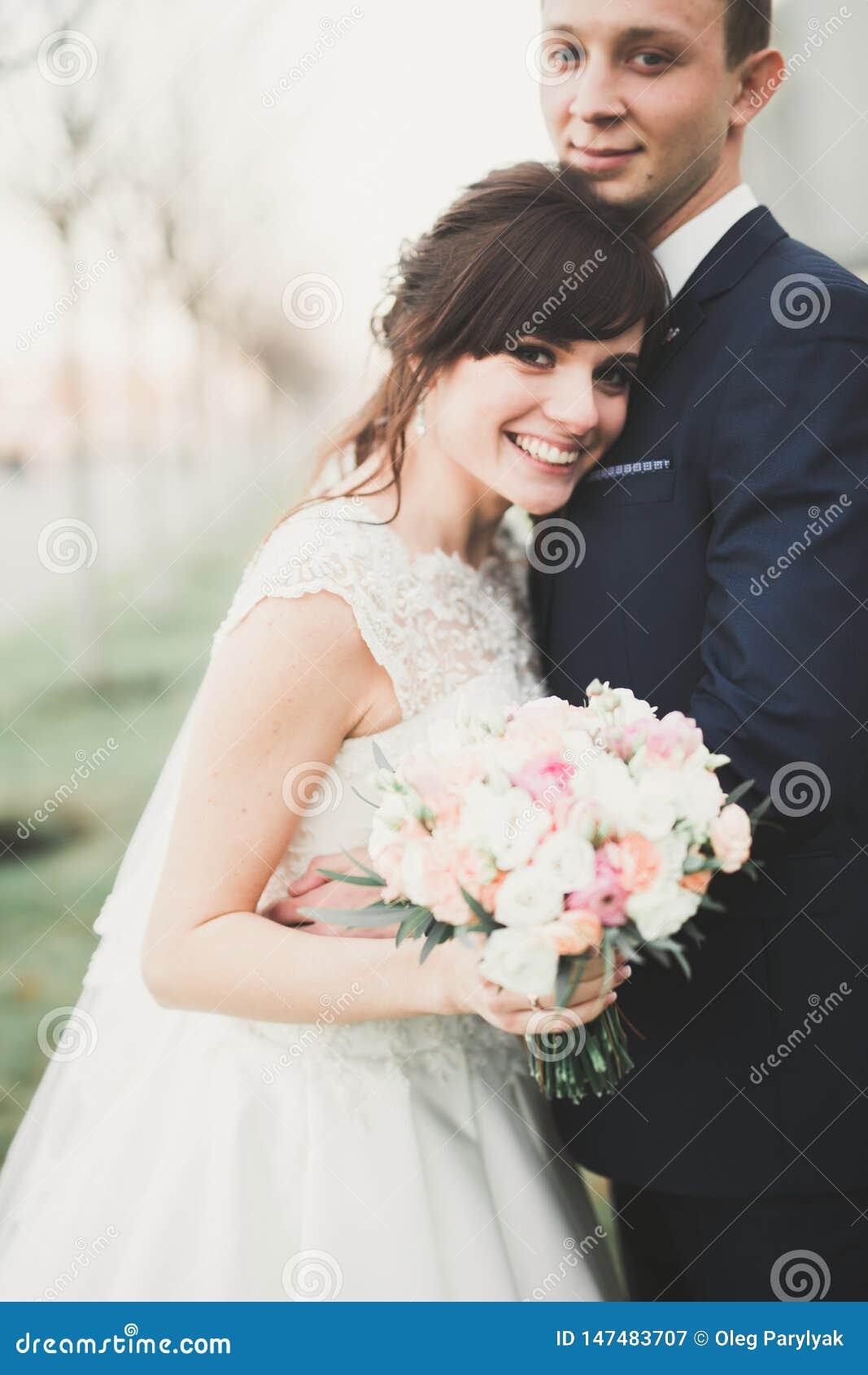 Herrliche Hochzeitspaare, die in die alte Stadt von Lemberg gehen