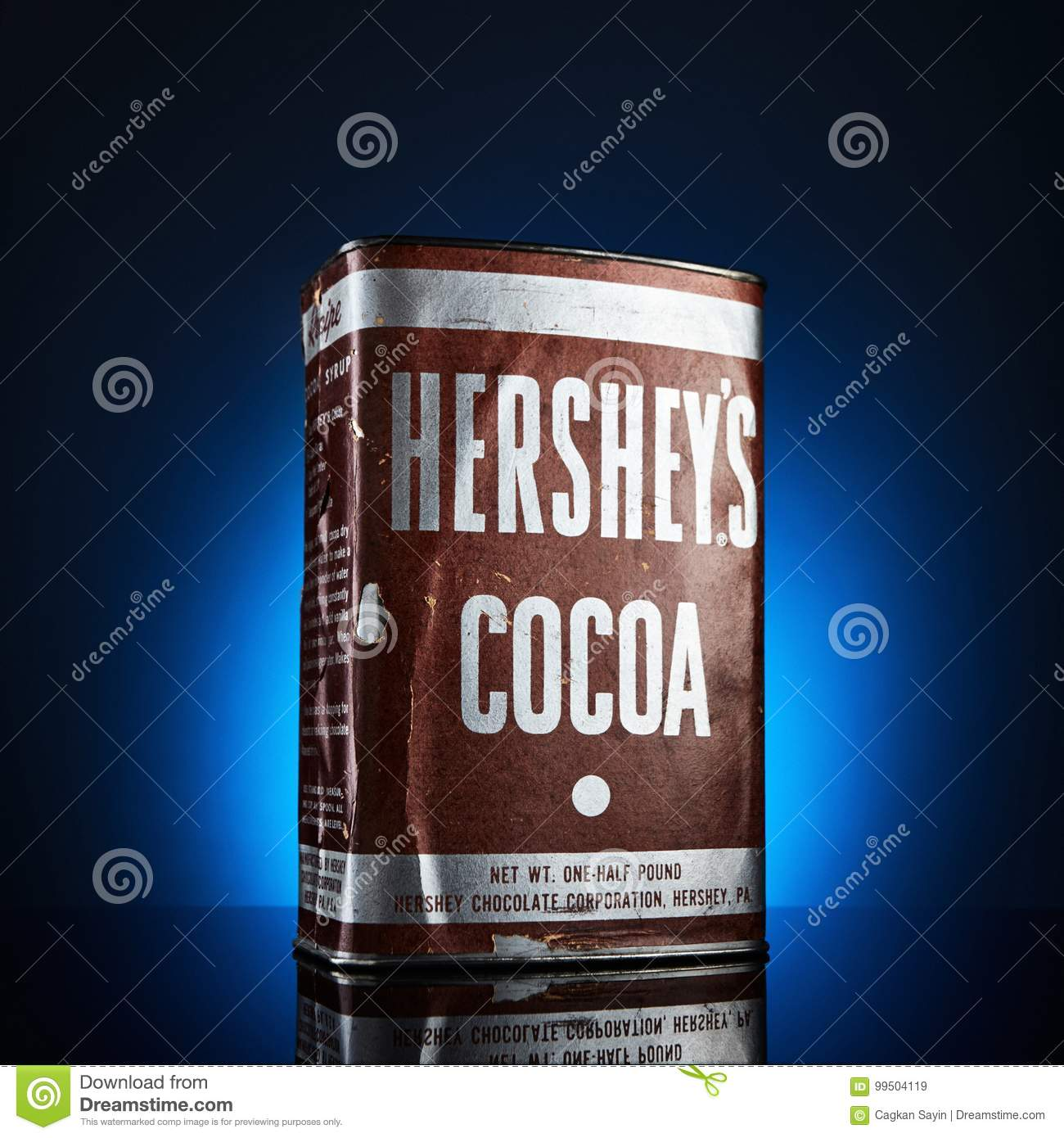 Hershey`s Cocoa Vintage Tin Box from 1950`s