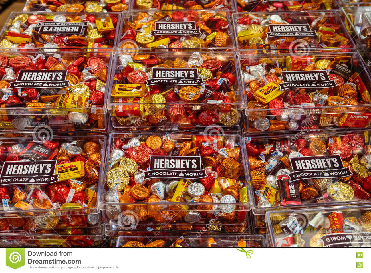 Hershey`s Famous Chocolate Kisses And Assorted Candies Editorial ...