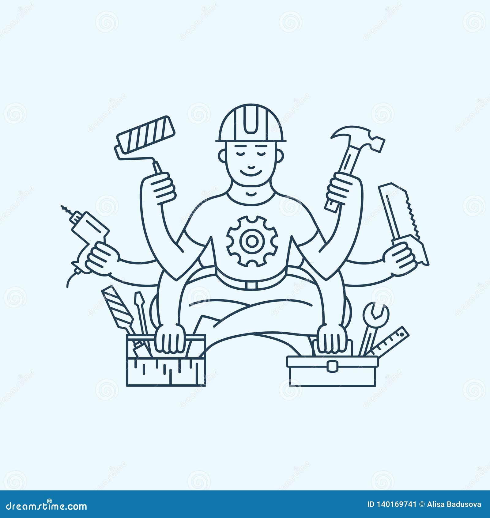 Herstellermeester met het embleem vectorillustratie van het zes handenpictogram