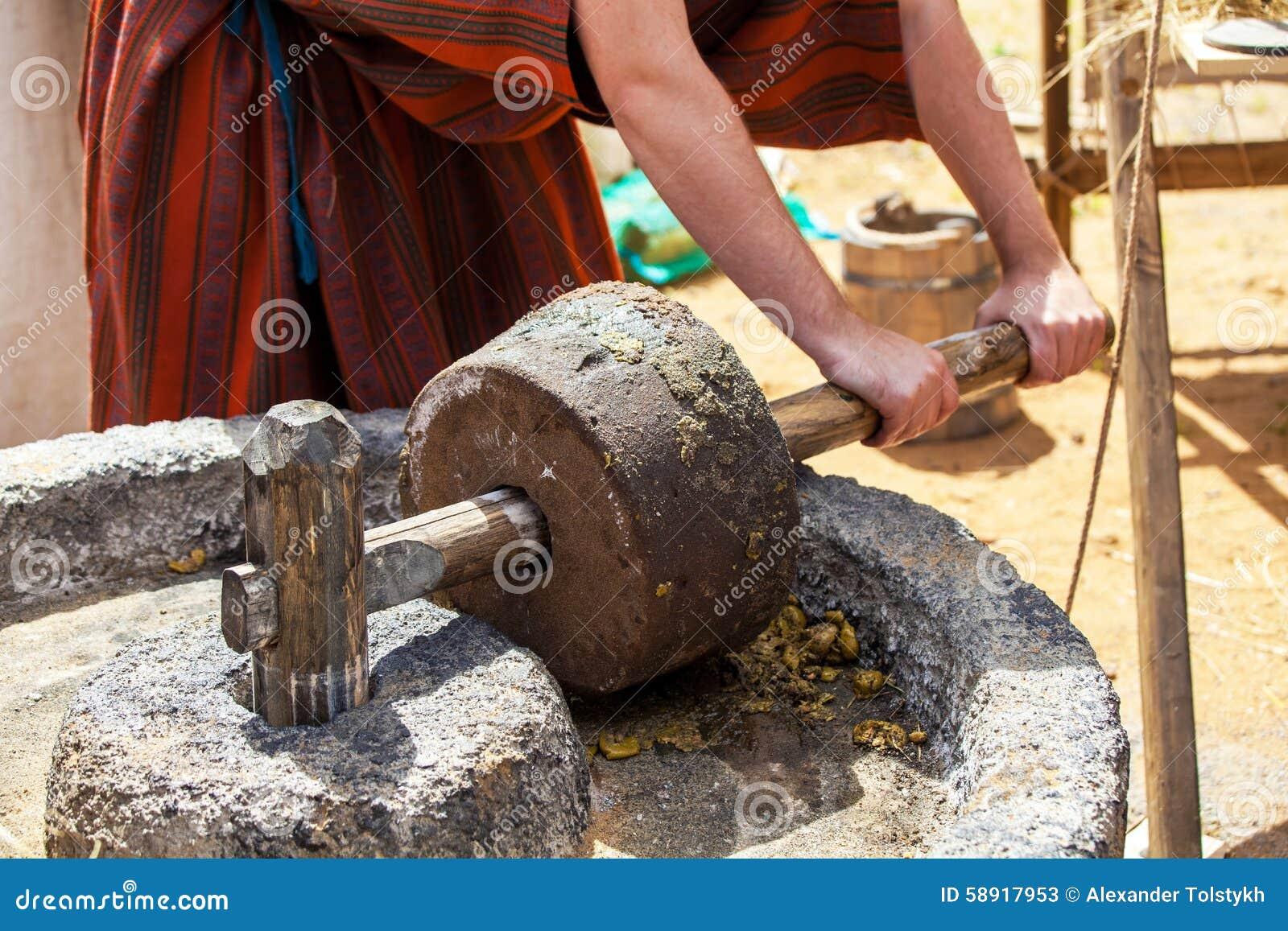 Herstellung des Olivenöls in alte Zeiten